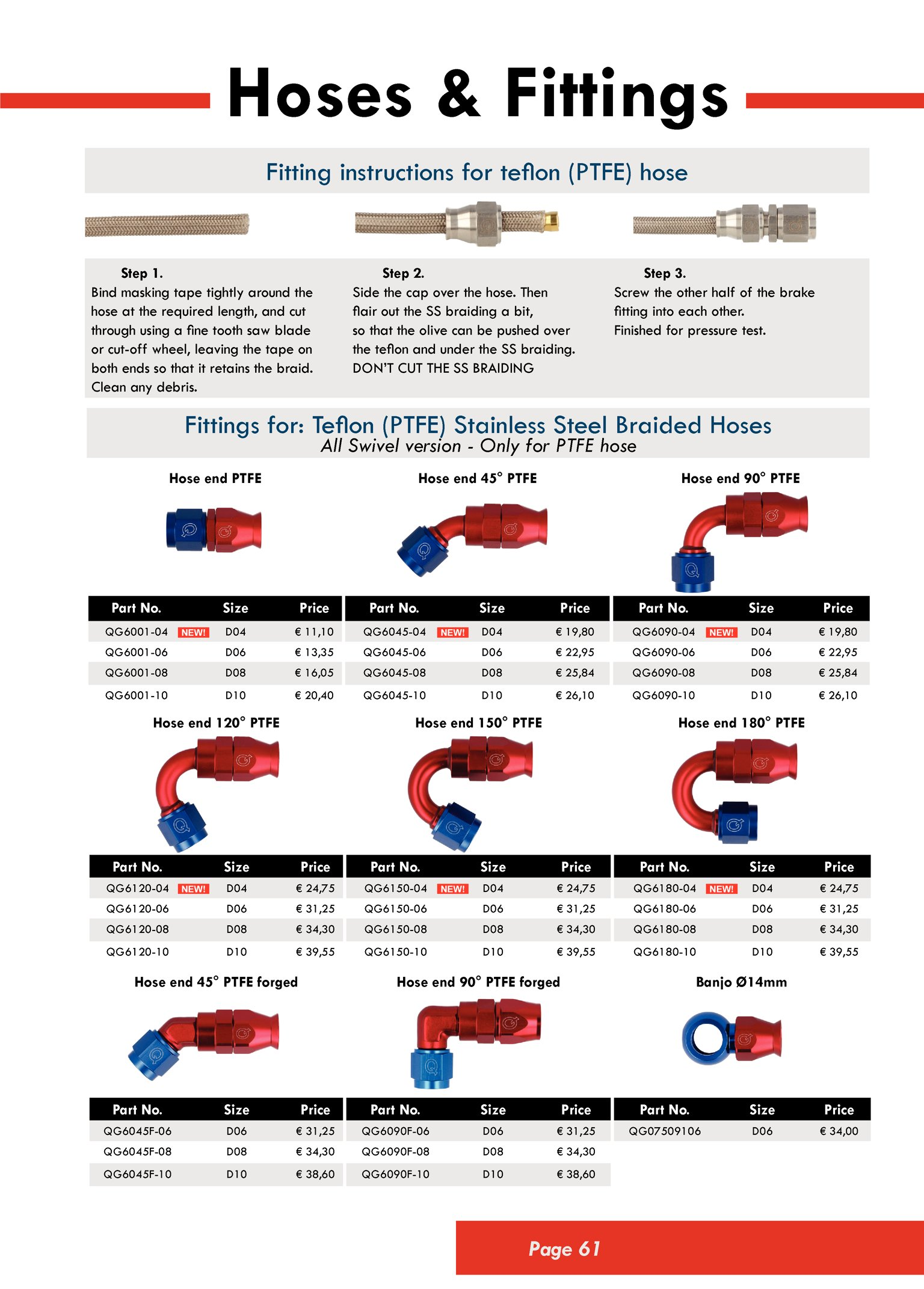 Stainless Steel Straight Swivel Female 4AN 7//16-20 Thread to AN4 Teflon PTFE Hose End Brake Fitting with Brass Olive Insert